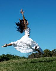 Jump in a white dress