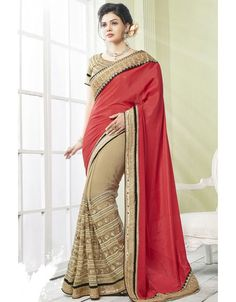 Sensational Beige and Coral Red #Saree