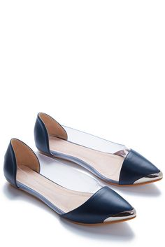 Modern Citizen Gold or Silver Steel-Toed Slipper Flats in Navy