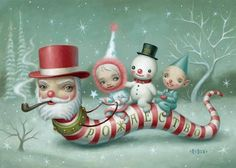"""Mark Ryden's """"Santa Worm.""""  Feels like 16 degrees out, it's time to bundle up."""