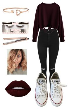 """""""Untitled #116"""" by emmalovesbooks2 ❤ liked on Polyvore featuring Topshop, Converse, Lime Crime, DIVA and Violet Voss"""