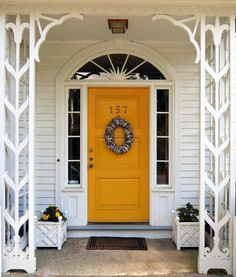Check out these five front door tips from an interior designer, and learn how you can easily improve your home's curb appeal. French Doors Patio, Patio Doors, Entry Doors, Small Backyard Design, Small Backyard Patio, Curb Appeal Porch, Yellow Front Doors, Contemporary Style Homes, House Paint Exterior