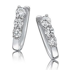 Diamond Three-Stone Small Hoop Earrings 10k White Gold