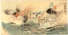 Sino-Japanese War scene by Ogata Gekkou 尾形 月耕 おがた げっこう - Sea Victory at Takushan