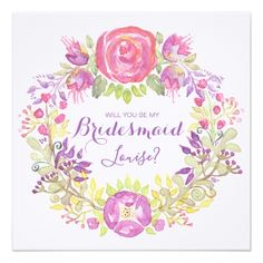 #Personalised 'Will You Be My Bridesmaid' Card - #flower gifts floral flowers diy