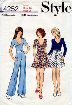 1970s Dress, Skirt, Top and Pants Vintage Sewing Pattern - Style 4252 Bust 36 FF