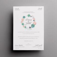 Invitación de boda floral de la colección clásica. Con meseros y menús a juego en nuestra shop online. Incluye sobre. Desde 2,50€/u Save The Date, Dating, Cover, Wedding, Ideas, Palette Table, Wedding Maps, Wedding List, Unique Weddings