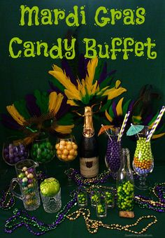 Have you been to Mardi Gras? Someday, hopefully soon, I'm going to visit New Orleans! However, the hu… Mardi Gras Food, Mardi Gras Party, New Orleans Party, Mardi Gras Decorations, Christmas Decorations, Sweet 16 Parties, Masquerade Party, Candy Buffet, Party Planning