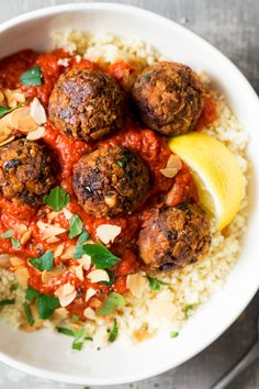 These Moroccan-inspired vegan meatballs in tomato sauce make a great weekday gluten-free main. It can be made in advance as it freezes well.