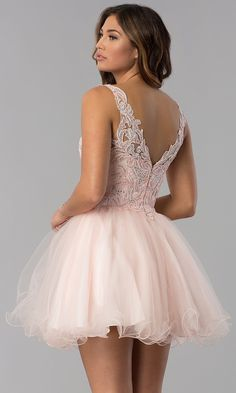 V-Neck Short Lace-Bodice Homecoming Dress - PromGirl Dama Dresses, Quince Dresses, Hoco Dresses, Quinceanera Dresses, Homecoming Dresses, Cute Dresses, Short Sleeve Dresses, Prom Outfits, Pageant Dresses