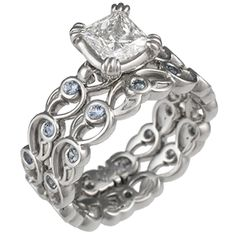 delicate bridal set rings