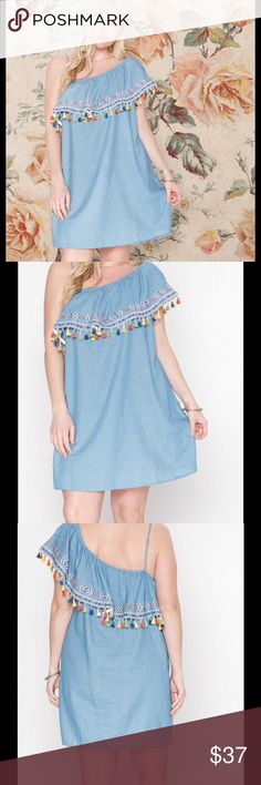 "☀️Chambray One Shoulder Tassel Dress Size 2X ☀️Chambray One Shoulder Tassel Dress. Size 2X. An asymmetrical cut provides carefree flair to this breezy dress boasting a delightful hue and tassels for a playful finish. 36"" long from high point of shoulder to hem. 23"" armpit to armpit.  65% cotton / 35% rayon. This dress is new without tags. Flying Tomato Dresses"
