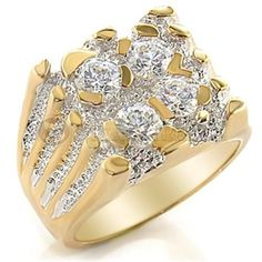 Size 8 Clear Brass Cubic Zirconia Two-Tone Ring