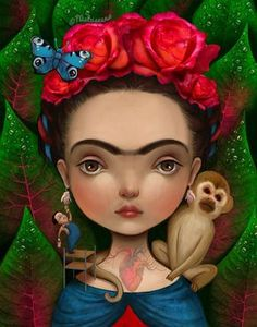 Frida 8X10 Frida Kahlo art mexican art chicana door Meluseena