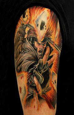 Gambit tattoo X-Men Marvel Tattoos, Batman Tattoo, Star Tattoos, Body Art Tattoos, Sleeve Tattoos, Wolverine Tattoo, Tatoos, Funny Tattoos, Anime Tattoos