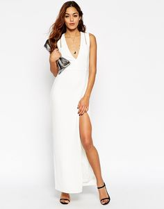 Image 1 ofASOS Premium Crepe Double Strap Plunge Split Maxi Dress