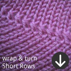 free PDF tutorial for wrap & turn (w&t, w+t) short row method in knitting