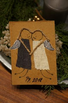 Clay Christmas Decorations, Christmas Card Crafts, Homemade Christmas Cards, Xmas Cards, Christmas Art, Handmade Christmas, Christmas Ornaments, Alternative Christmas Tree, Angel Crafts
