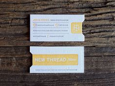 New Thread Films Business Cards: Miles Design's film canister label inspired business card for Indianapolis motion graphics firm New Thread Films mimics a theater ticket and symbolizes a successful production. — KELLY CREE