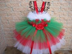 Stunning dress, HOLIDAY RUFFLES, a 3-tired tutu dress, in beautiful colors, red, green and white. Perfect for the holiday season, Christmas, New Year, Weddings, Birthday, Cake Smash Party, Holiday Par