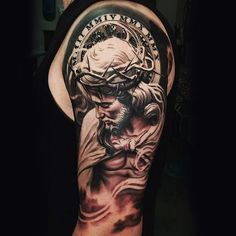 Mens Upper Arms Detailed Religious Tattoo