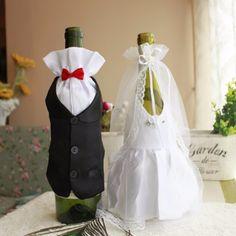 Bride And Groom Dress Wine Glass Champagne Bottle Wedding Decoration - Wedding Look