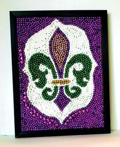 Framed Fleur De Lis New Orleans Mardi Gras Bead by nolabeadart, $95.00