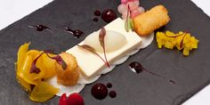 Variations of beetroot with goat's cheese flan and celery sorbet