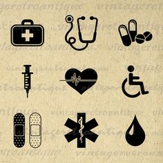 Health and Medical Icons Collage Sheet Image Printable Digital