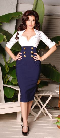 Military Secretary Dress in White and Navy by Pinup Couture. I would probably wear a camisole but I LOVE the dress.