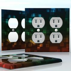 DIY Do It Yourself Home Decor - Easy to apply wall plate wraps | Neon Squares #2  Neon color squares on dark backgrounds  wallplate skin sticker for 2 Gang Wall Socket Duplex Receptacle | On SALE now only $4.95