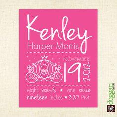 Cinderella Princess Nursery Wall Art - Birth Info Keepsake for girl - Printable 8x10. $20.00, via Etsy.