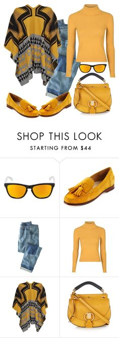 """""""Mustard"""" by nayla-darkstone ❤ liked on Polyvore featuring Oakley, Cole Haan, Wrap, Glamorous and Chloé"""