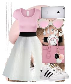 """Pink,Black, and White"" by anna-bigsis ❤ liked on Polyvore featuring adidas, Chicwish, Rosendahl, Yves Saint Laurent, Plukka and GUESS"