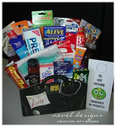 #Hangover #GiftBasket.  All the necessities for surviving the famous Las Vegas Strip & curing the inevitable Las Vegas hangover are packaged into this keepsake doctor bag gift basket box.  Includes must haves like: Bloody Mary Mix, Saltine Crackers, Anti Acid, Eye Drops, Water, Pain Reliever, Mint Gum, Gel Eye Mask and Much More!  Perfect gift for New Years, 21st Birthday, Bachelor/rette Parties, Corporate Events... Virtually any Las Vegas celebration!