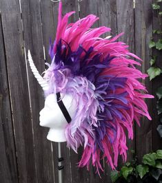 Unicorn headdress with glowing horn by Firebird Leather at Heathen Boutique In Hollywood CA