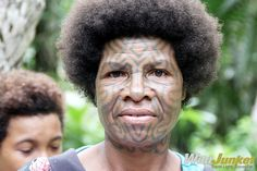 A woman from the Northern Province of Papua New Guinea. Traditional initiation of young women still occurs in this beautiful part of PNG, where women undergo the painful tattooing of their entire face with tribal patterns. #PapuaNewGuinea #tattoo #tribal