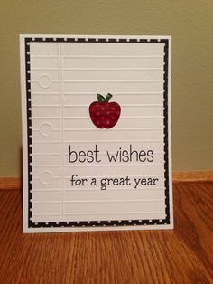 "Back to School card for my old team. PTI ""Back to School"" die. Lawn Fawn sentiments  from ""A Good Apple"" & ""So Much To Say"""
