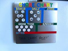 Great chore chart for a young child. Gives rewards and allowance. Very rewarding and teaches them consequences of not doing their chores!