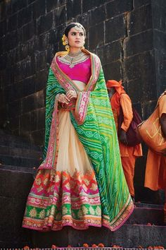 Green Net Wedding Saree