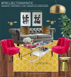 Design Work: A Dramatic Living Room in Dark Teal, Pink and Mustard