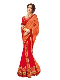 Orange and  Red Color Two Tone Chiffon Saree - PL22009     #sarees #sari #fashion #looking #popular #offers #zinnga #zinngafashion #look #new #fashionable #style #womens #fashionable
