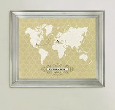 Personalized Travel Map Wedding Gift Guest by HereandThereShop