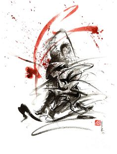 Mariusz Szmerdt Painting - Samurai Sword Black White Red Strokes Bushido Katana Martial Arts Sumi-e Original Fight Ink Painting by Mariusz Szmerdt