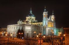 Spectacular Architecture in Spain - La Almudena Cathedral – Madrid (Spain), HDR taken by marcp_dmoz on Spanish Architecture, Beautiful Architecture, Night Street, Madrid City, Spanish Towns, Europe, Tears Of Joy, Night Time, Around The Worlds