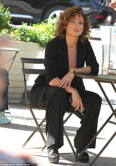Working girl: A feisty-looking Jennifer Lopez was back filming her new NBC series Shades Of Blue on the streets of Brooklyn on 16 Sept 2015