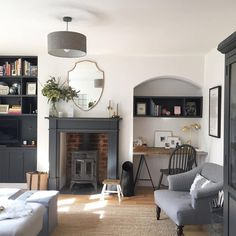 A gorgeous sunny morning, then drinks with friends and food with family. Happy Easter everyone x {Mirror from Barker and Stonehouse. Shelving and fireplace painted in Valspar Charcoal Sketch. Desk has Ikea legs and reclaimed scaffold board top} Home Living Room, Interior Design Living Room, Living Room Designs, Living Room Decor, Victorian Living Room, Victorian House, Up House, Piece A Vivre, Trendy Home
