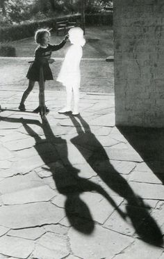 Hans-Peter Feldmann  Untitled (Two girls with a shadow).  Clipped image pasted on cardboard and framed. 60 x 80cm.