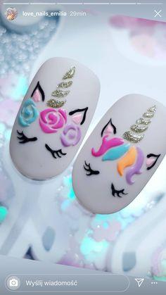 Unicorn Nails Designs, Unicorn Nail Art, Nail Salon Design, Nail Salon Decor, Cute Nails, Pretty Nails, Mickey Mouse Nail Art, Nail Drawing, Cherry Nails