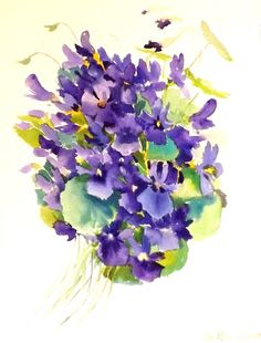 Hey, I found this really awesome Etsy listing at http://www.etsy.com/listing/178645524/violets-original-watercolor-painting-12